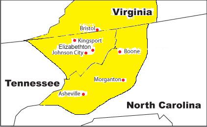 South VA TN NC Map